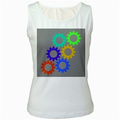 Gear Transmission Options Settings Women s White Tank Top