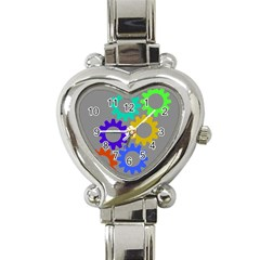 Gear Transmission Options Settings Heart Italian Charm Watch by Nexatart