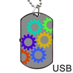 Gear Transmission Options Settings Dog Tag Usb Flash (two Sides)