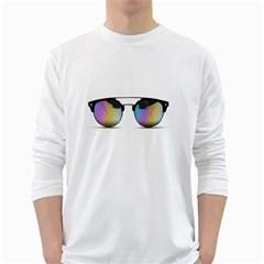 Sunglasses Shades Eyewear White Long Sleeve T Shirts