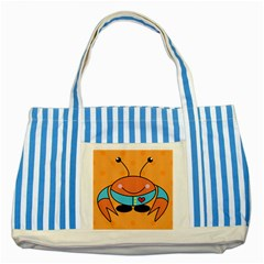 Crab Sea Ocean Animal Design Striped Blue Tote Bag by Nexatart