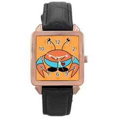 Crab Sea Ocean Animal Design Rose Gold Leather Watch