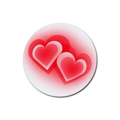 Heart Love Romantic Art Abstract Rubber Round Coaster (4 Pack)