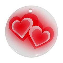 Heart Love Romantic Art Abstract Round Ornament (two Sides)