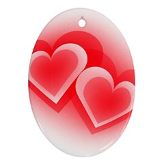 Heart Love Romantic Art Abstract Oval Ornament (two Sides)