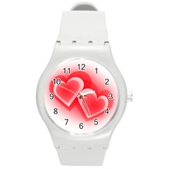 Heart Love Romantic Art Abstract Round Plastic Sport Watch (m) by Nexatart