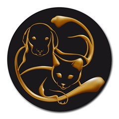 Gold Dog Cat Animal Jewel Dor¨| Round Mousepads by Nexatart