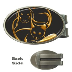 Gold Dog Cat Animal Jewel Dor¨| Money Clips (oval)