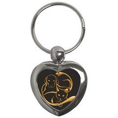 Gold Dog Cat Animal Jewel Dor¨| Key Chains (heart)