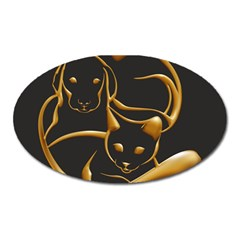 Gold Dog Cat Animal Jewel Dor¨| Oval Magnet
