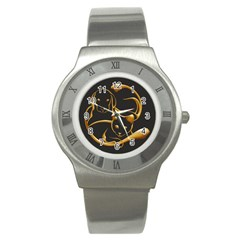 Gold Dog Cat Animal Jewel Dor¨| Stainless Steel Watch
