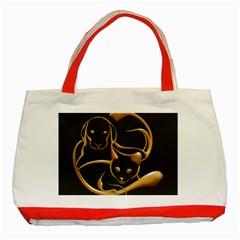 Gold Dog Cat Animal Jewel Dor¨| Classic Tote Bag (red)