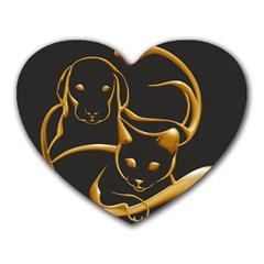 Gold Dog Cat Animal Jewel Dor¨| Heart Mousepads