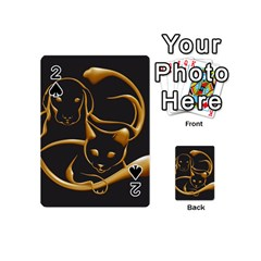 Gold Dog Cat Animal Jewel Dor¨| Playing Cards 54 (mini)  by Nexatart