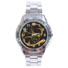 Gold Dog Cat Animal Jewel Dor¨| Stainless Steel Analogue Watch