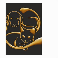 Gold Dog Cat Animal Jewel Dor¨| Small Garden Flag (two Sides) by Nexatart