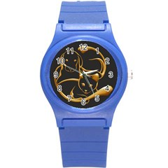 Gold Dog Cat Animal Jewel Dor¨| Round Plastic Sport Watch (s)