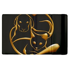 Gold Dog Cat Animal Jewel Dor¨| Apple Ipad 3/4 Flip Case