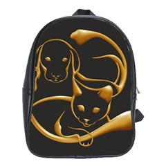 Gold Dog Cat Animal Jewel Dor¨| School Bag (xl)