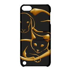 Gold Dog Cat Animal Jewel Dor¨| Apple Ipod Touch 5 Hardshell Case With Stand