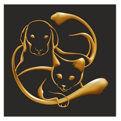 Gold Dog Cat Animal Jewel Dor¨| Large Satin Scarf (square)