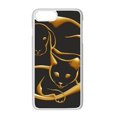 Gold Dog Cat Animal Jewel Dor¨| Apple Iphone 7 Plus White Seamless Case by Nexatart