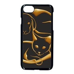 Gold Dog Cat Animal Jewel Dor¨| Apple Iphone 7 Seamless Case (black) by Nexatart