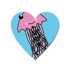 Jellyfish Cute Illustration Cartoon Heart Magnet by Nexatart