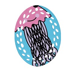 Jellyfish Cute Illustration Cartoon Oval Filigree Ornament (two Sides) by Nexatart