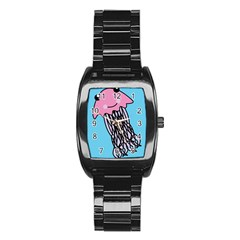 Jellyfish Cute Illustration Cartoon Stainless Steel Barrel Watch