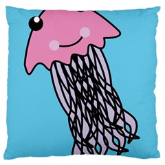 Jellyfish Cute Illustration Cartoon Large Flano Cushion Case (two Sides) by Nexatart