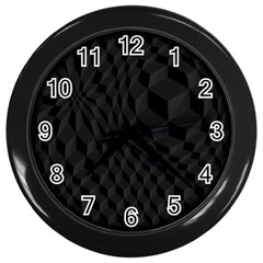 Pattern Dark Black Texture Background Wall Clocks (black)