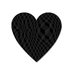 Pattern Dark Black Texture Background Heart Magnet by Nexatart