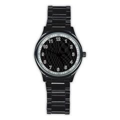 Pattern Dark Black Texture Background Stainless Steel Round Watch