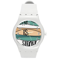 Love Sign Romantic Abstract Round Plastic Sport Watch (m) by Nexatart