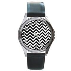 Wave Background Fashion Round Metal Watch