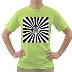 Rays Stripes Ray Laser Background Green T Shirt