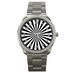 Rays Stripes Ray Laser Background Sport Metal Watch