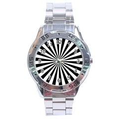 Rays Stripes Ray Laser Background Stainless Steel Analogue Watch