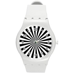 Rays Stripes Ray Laser Background Round Plastic Sport Watch (m)
