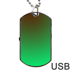 Course Colorful Pattern Abstract Green Dog Tag Usb Flash (two Sides)