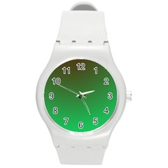 Course Colorful Pattern Abstract Green Round Plastic Sport Watch (m)