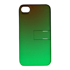 Course Colorful Pattern Abstract Green Apple Iphone 4/4s Hardshell Case With Stand