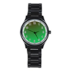 Course Colorful Pattern Abstract Green Stainless Steel Round Watch