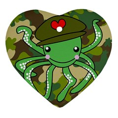 Octopus Army Ocean Marine Sea Ornament (heart)