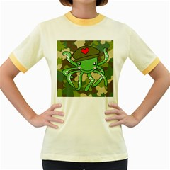 Octopus Army Ocean Marine Sea Women s Fitted Ringer T Shirts