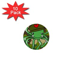 Octopus Army Ocean Marine Sea 1  Mini Buttons (10 Pack)