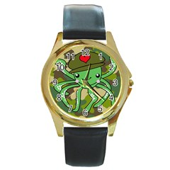 Octopus Army Ocean Marine Sea Round Gold Metal Watch by Nexatart