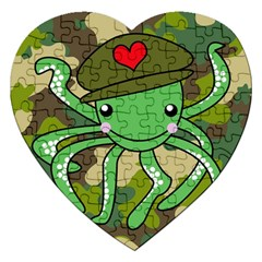 Octopus Army Ocean Marine Sea Jigsaw Puzzle (heart) by Nexatart