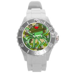 Octopus Army Ocean Marine Sea Round Plastic Sport Watch (l)